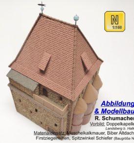 Doppelkapelle Landsberg (b. Halle) Kundenmodell von R. Schumacher, Baugröße N, Maßstab 1:160