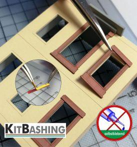 Selbstklebetechnik für einfache Montage auf Modell-Fassaden