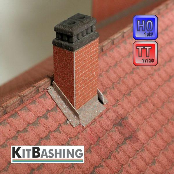 zweizügiger Modell-Kamin zum einstecken in das Gebäudedach