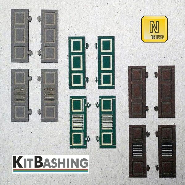 Fensterläden für Spur N Modellbau, Klappladen Set A1