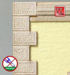 Blenden für Hausecken mit Stuck-Bossensteinen im Modell TT