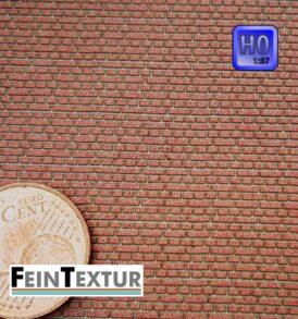 Ziegel Backsteinwand im Kreuzverband für H0-Modellbau, farbiger Lasercut